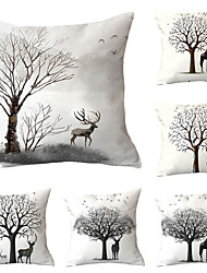 cheap -Set of 6 Polyester Pillow Cover, Cartoon Graphic Prints Modern Premium Square Traditional Classic Throw Pillow