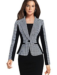 cheap -Women's Blazer, Plaid Notch Lapel Polyester Black