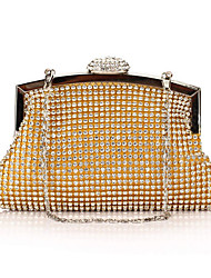 cheap -Women's Bags Polyester Evening Bag Crystals Chain Solid Color Wedding Bags Wedding Party Event / Party Black Gold Silver