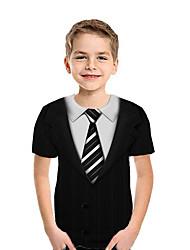cheap -Kids Boys' Active Street chic Geometric 3D Patchwork Pleated Print Short Sleeve Blouse Black