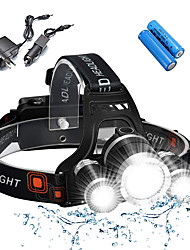 cheap -Headlamps Bike Light Headlight Waterproof Rechargeable 5000 lm LED 3 Emitters 4 Mode with Batteries and Chargers Waterproof Rechargeable Impact Resistant Camping / Hiking / Caving Everyday Use Police