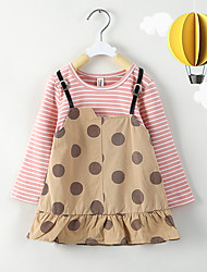 cheap -Baby Girls' Basic Print Long Sleeve Knee-length Dress Blushing Pink