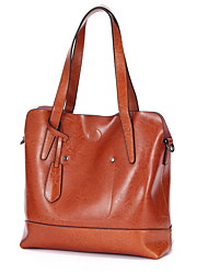 cheap -Women's Zipper Cowhide Top Handle Bag Solid Color Black / Brown / Red Brown
