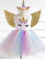 cheap -Kids Little Girls' Dress Rainbow Gold Silver Rainbow Cute Dresses