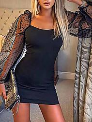 cheap -Women's Mini White Black Dress Sheath Solid Color Square Neck S M Slim