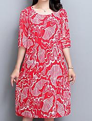 cheap -Women's Red Black Dress Shift Print XL XXL