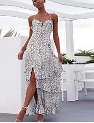 cheap -Women's Maxi White Dress A Line Print Strap S M