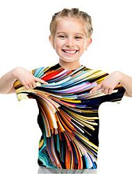 cheap -Kids Toddler Girls' Active Basic Rubik's Cube Geometric 3D Rainbow Print Short Sleeve Tee Rainbow