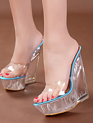 cheap -Women's Sandals Wedge Sandals Summer Wedge Heel Round Toe Classic Party & Evening PU Almond / Pink / Blue / Clear / Transparent / PVC