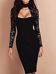 cheap -Women's White Black Dress Sheath Solid Color Crew Neck S M Slim / Cotton