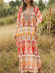 cheap -Women's Maxi Red Dress Summer Holiday Vacation Beach A Line Abaya Geometric V Neck One-Size