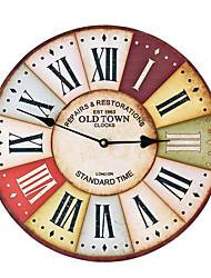 Недорогие -Ретро ностальгические мдф настенные часы ресторан отделка стен
