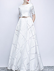 cheap -A-Line Elegant White Engagement Prom Dress Jewel Neck Short Sleeve Floor Length Polyester with Sash / Ribbon Pattern / Print 2020