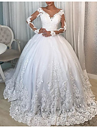 cheap -Ball Gown Wedding Dresses V Neck Watteau Train Lace Polyester Long Sleeve Formal Plus Size Illusion Sleeve with Draping Lace Insert Appliques 2020