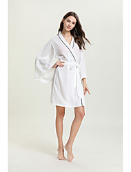 cheap -Women's Cut Out / Mesh Chemises & Gowns / Robes / Satin & Silk Nightwear Jacquard / Solid Colored White S M L