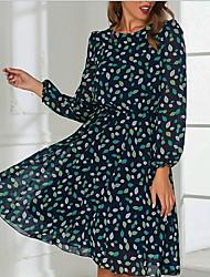 cheap -Women's Green Dress Sheath Print S M