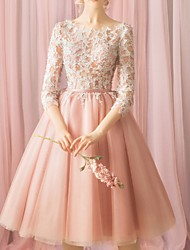 cheap -Ball Gown Floral Pink Cocktail Party Prom Dress Jewel Neck 3/4 Length Sleeve Knee Length Lace with Appliques 2020