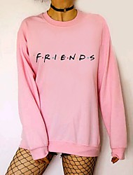 cheap -Women's Letter Long Sleeve Pullover Sweater Jumper, Round Neck Black / White / Blushing Pink S / M / L