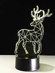 cheap -Creative Moose 3D Night Light Christmas Gift Table Lamp New Lighting Remote Touch Switch 3D Lamp Table Lamp