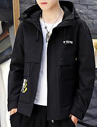 cheap -Men's Daily Chinoiserie Spring &  Fall Regular Jacket, Letter Hooded Long Sleeve Polyester Print Black / Light Green / Beige