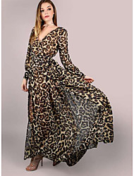 cheap -Women's A Line Dress - Leopard Brown S M L XL