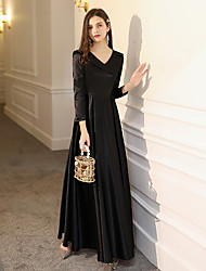 cheap -A-Line Minimalist Black Party Wear Formal Evening Dress V Neck Long Sleeve Floor Length Satin with Pleats 2020