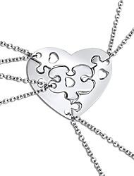 cheap -Women's Pendant Necklace Necklace Friends European Romantic Casual / Sporty Sweet Chrome Silver 45 cm Necklace Jewelry 4pcs For Street Festival