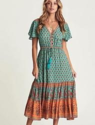cheap -Women's A Line Dress - Polka Dot Blue Red S M L