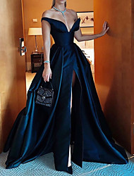 cheap -A-Line Off Shoulder Sweep / Brush Train Polyester Sexy / Blue Party Wear / Formal Evening Dress with Split / Overskirt 2020
