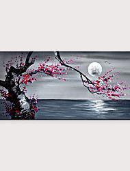 cheap -Handmade Beautiful Plum Blossom Scenery Under The Moon Seascape Artwork Oil Paintings