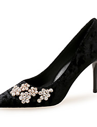 cheap -Women's Heels Stiletto Heel Pointed Toe Rhinestone Suede Classic / Vintage Spring &  Fall Wine / Light Grey / Black / Party & Evening
