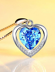 cheap -Women's Pendant Necklace Crystal Necklace Classic Heart Fashion Zircon Copper Silver Plated Blue Blushing Pink 45 cm Necklace Jewelry 1pc For Christmas Wedding Party Evening Formal Festival