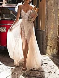 cheap -Sheath / Column V Neck Sweep / Brush Train Lace Sleeveless Beach / Boho Wedding Dresses with Lace Insert / Embroidery / Split Front 2020
