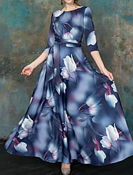 cheap -Women's Maxi Navy Blue Dress Sheath Swing Floral S M