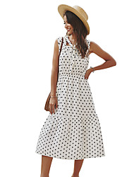 cheap -Women's Blushing Pink White Dress Casual Street chic Holiday Going out A Line Polka Dot Print S M / Cotton