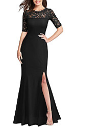 cheap -Mermaid / Trumpet Jewel Neck Floor Length Polyester Short Sleeve Formal Plus Size / Black Wedding Dresses with Draping / Split Front 2020
