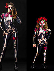 cheap -Zentai Suits Catsuit Skin Suit Skeleton / Skull Kid's Adults' Cosplay Costumes Ultra Sexy Men's Women's Black / Red Skull Halloween Carnival Masquerade / Leotard / Onesie
