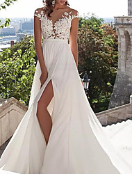 cheap -A-Line Wedding Dresses Jewel Neck Sweep / Brush Train Lace Stretch Satin Cap Sleeve Casual Beach Boho Plus Size with Draping Appliques 2021
