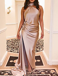 cheap -A-Line Reformation Amante Minimalist Wedding Guest Prom Dress Halter Neck Sleeveless Floor Length Stretch Satin with Sleek Ruched Split 2020