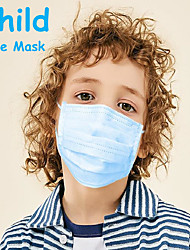 cheap -50 pcs Face Mask Disposable Mask Disposable Anti Dustproof Nonwoven Fabric CE Certified FDA ISO Certification Protection Breathable High Quality Girls' for Child Blue