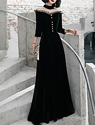 cheap -A-Line Elegant Black Party Wear Formal Evening Dress High Neck 3/4 Length Sleeve Floor Length Polyester with Beading 2020