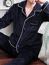 cheap -Men's Suits Nightwear Khaki Brown Navy Blue L XL XXL