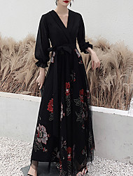 cheap -A-Line V Neck Floor Length Spandex / Tulle Floral / Black Prom / Formal Evening Dress with Sash / Ribbon / Embroidery 2020