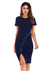 cheap -Women's Daily Going out Sexy Sheath Dress - Solid Color Basic Black Wine Blue M L XL