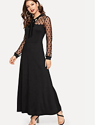 cheap -Women's Maxi Black Dress Swing Solid Color V Neck S M