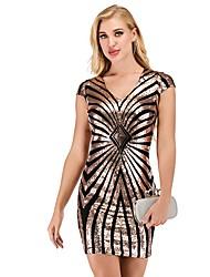 cheap -Women's Sheath Dress - Striped Black Silver S M L XL