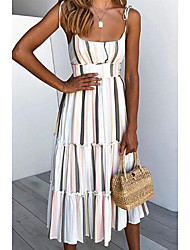 cheap -Women's Strap Dress Midi Dress White Sleeveless Striped S M L XL