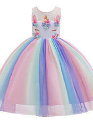 cheap -Princess Unicorn Dress Flower Girl Dress Girls' Movie Cosplay A-Line Slip Cosplay Vacation Dress Rainbow Dress Halloween Carnival Masquerade Tulle Polyester