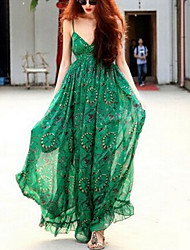 cheap -Women's Maxi Green Dress Swing Print Strap V Neck S M