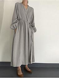 cheap -Women's Shift Dress - Solid Color Black Yellow Gray S M L XL